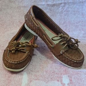 5)Sperry Top-Sider Woven Leather Boat Shoes